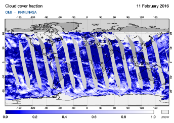 OMI - Cloud cover fraction of 11 February 2016