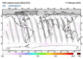 OMI - SO2 vertical column of 11 February 2016