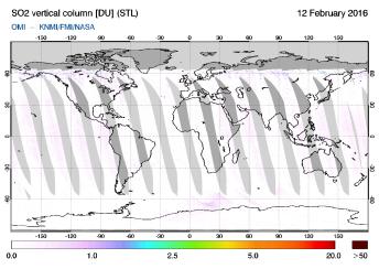 OMI - SO2 vertical column of 12 February 2016