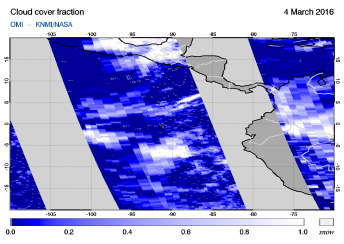 OMI - Cloud cover fraction of 04 March 2016