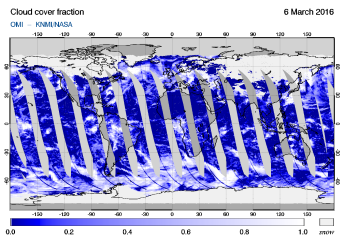 OMI - Cloud cover fraction of 06 March 2016