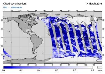 OMI - Cloud cover fraction of 07 March 2016