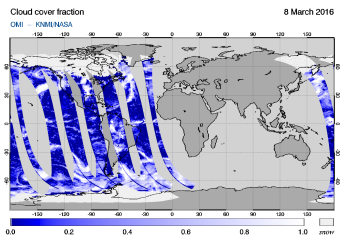 OMI - Cloud cover fraction of 08 March 2016