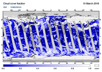 OMI - Cloud cover fraction of 10 March 2016