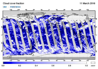 OMI - Cloud cover fraction of 11 March 2016