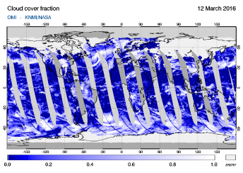 OMI - Cloud cover fraction of 12 March 2016