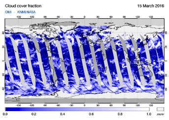 OMI - Cloud cover fraction of 15 March 2016