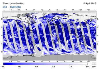 OMI - Cloud cover fraction of 06 April 2016