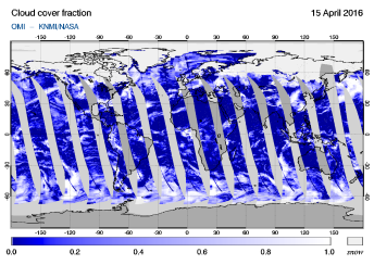 OMI - Cloud cover fraction of 15 April 2016
