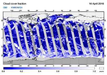 OMI - Cloud cover fraction of 16 April 2016