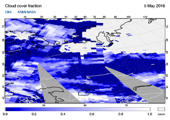 OMI - Cloud cover fraction of 05 May 2016