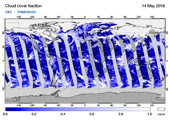 OMI - Cloud cover fraction of 14 May 2016