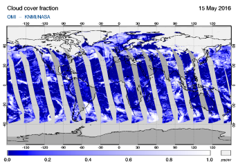 OMI - Cloud cover fraction of 15 May 2016