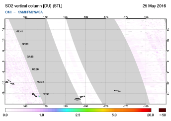 OMI - SO2 vertical column of 25 May 2016