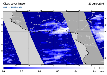 OMI - Cloud cover fraction of 20 June 2016