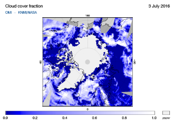 OMI - Cloud cover fraction of 03 July 2016