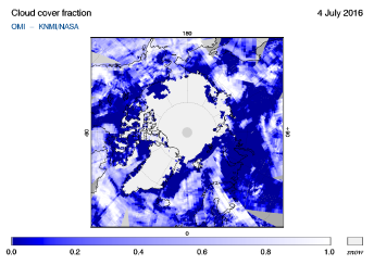 OMI - Cloud cover fraction of 04 July 2016