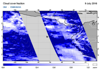OMI - Cloud cover fraction of 09 July 2016