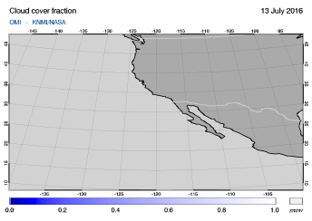 OMI - Cloud cover fraction of 13 July 2016