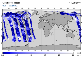 OMI - Cloud cover fraction of 14 July 2016