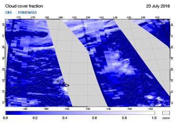 OMI - Cloud cover fraction of 23 July 2016