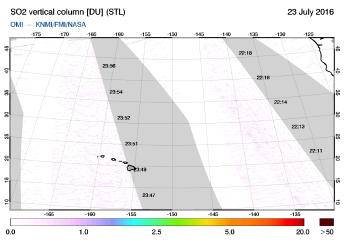 OMI - SO2 vertical column of 23 July 2016