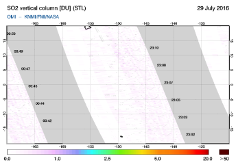 OMI - SO2 vertical column of 29 July 2016