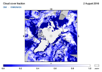 OMI - Cloud cover fraction of 02 August 2016