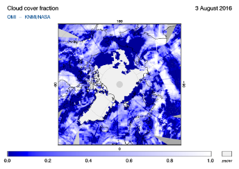 OMI - Cloud cover fraction of 03 August 2016