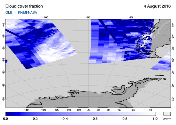OMI - Cloud cover fraction of 04 August 2016
