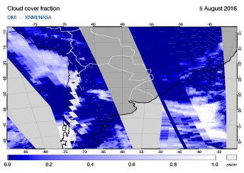 OMI - Cloud cover fraction of 05 August 2016