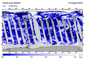 OMI - Cloud cover fraction of 10 August 2016