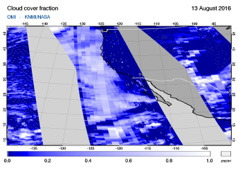 OMI - Cloud cover fraction of 13 August 2016