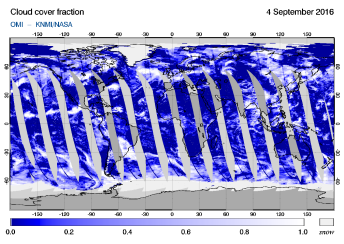OMI - Cloud cover fraction of 04 September 2016