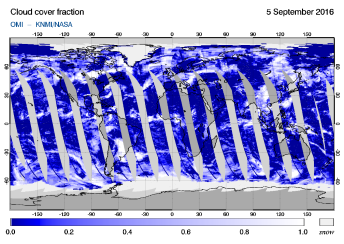 OMI - Cloud cover fraction of 05 September 2016