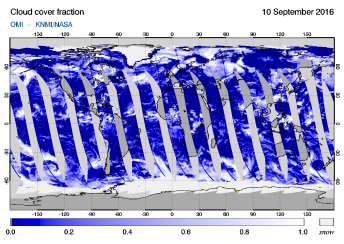 OMI - Cloud cover fraction of 10 September 2016