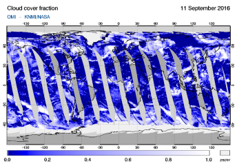 OMI - Cloud cover fraction of 11 September 2016