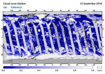 OMI - Cloud cover fraction of 12 September 2016