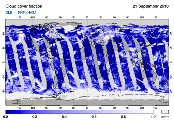 OMI - Cloud cover fraction of 21 September 2016