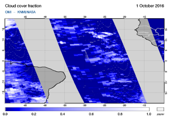 OMI - Cloud cover fraction of 01 October 2016