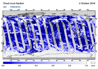 OMI - Cloud cover fraction of 05 October 2016