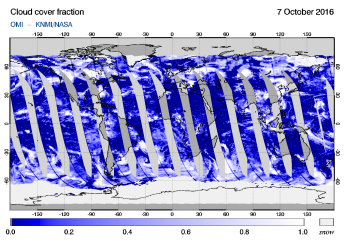 OMI - Cloud cover fraction of 07 October 2016
