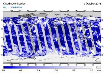 OMI - Cloud cover fraction of 09 October 2016