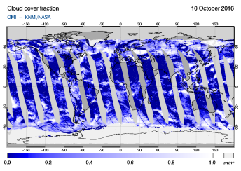 OMI - Cloud cover fraction of 10 October 2016
