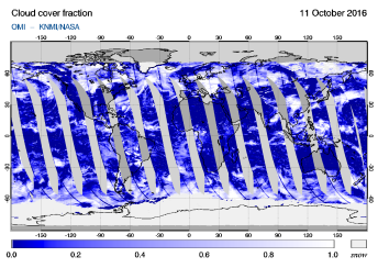 OMI - Cloud cover fraction of 11 October 2016