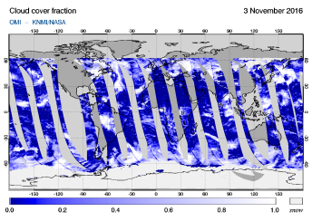 OMI - Cloud cover fraction of 03 November 2016