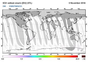 OMI - SO2 vertical column of 03 November 2016