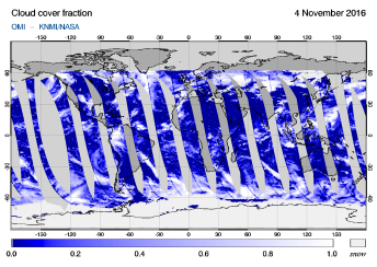 OMI - Cloud cover fraction of 04 November 2016