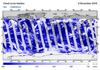OMI - Cloud cover fraction of 06 November 2016