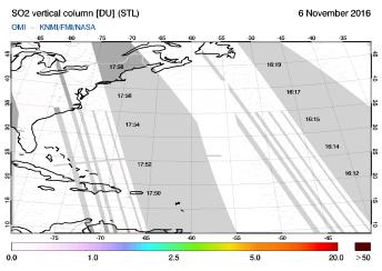 OMI - SO2 vertical column of 06 November 2016